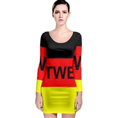 Rottweiler Name On Flag Long Sleeve Bodycon Dress