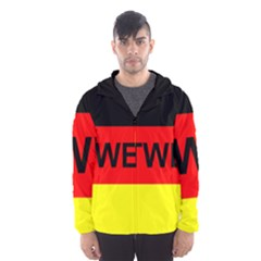 Rottweiler Name On Flag Hooded Wind Breaker (Men)
