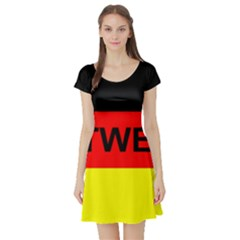 Rottweiler Name On Flag Short Sleeve Skater Dress