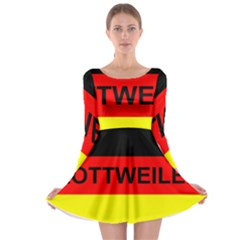 Rottweiler Name On Flag Long Sleeve Skater Dress