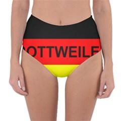 Rottweiler Name On Flag Reversible High-Waist Bikini Bottoms