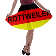 Rottweiler Name On Flag A-line Skater Skirt