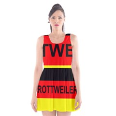 Rottweiler Name On Flag Scoop Neck Skater Dress