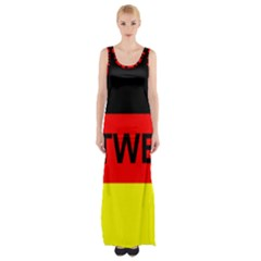 Rottweiler Name On Flag Maxi Thigh Split Dress