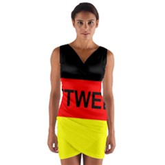Rottweiler Name On Flag Wrap Front Bodycon Dress