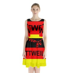 Rottweiler Name On Flag Sleeveless Waist Tie Chiffon Dress