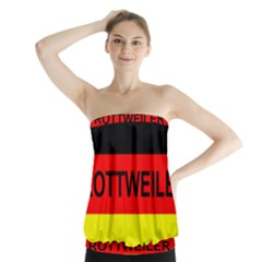 Rottweiler Name On Flag Strapless Top