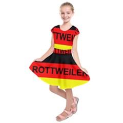 Rottweiler Name On Flag Kids  Short Sleeve Dress