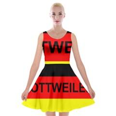 Rottweiler Name On Flag Velvet Skater Dress