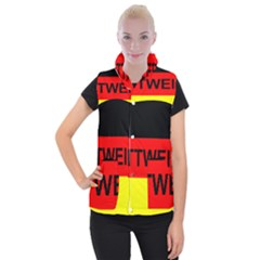 Rottweiler Name On Flag Women s Button Up Puffer Vest