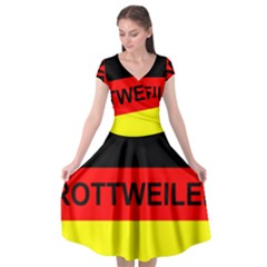 Rottweiler Name On Flag Cap Sleeve Wrap Front Dress