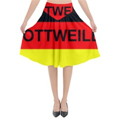 Rottweiler Name On Flag Flared Midi Skirt