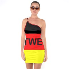 Rottweiler Name On Flag One Soulder Bodycon Dress