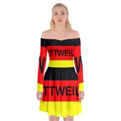 Rottweiler Name On Flag Off Shoulder Skater Dress