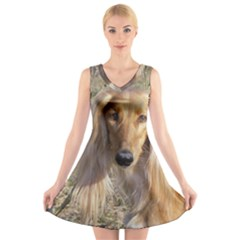 Saluki V-Neck Sleeveless Skater Dress