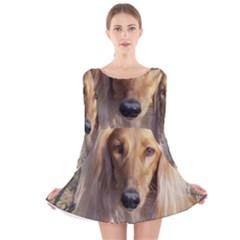 Saluki Long Sleeve Velvet Skater Dress