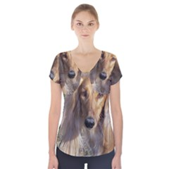 Saluki Short Sleeve Front Detail Top