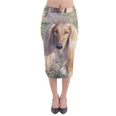 Saluki Velvet Midi Pencil Skirt