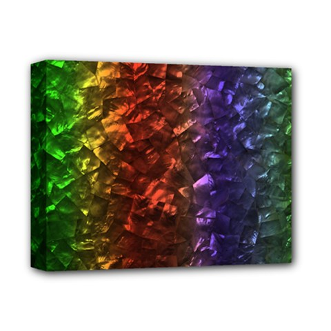 Multi Color Magical Unicorn Rainbow Shimmering Mother of Pearl Deluxe Canvas 14  x 11