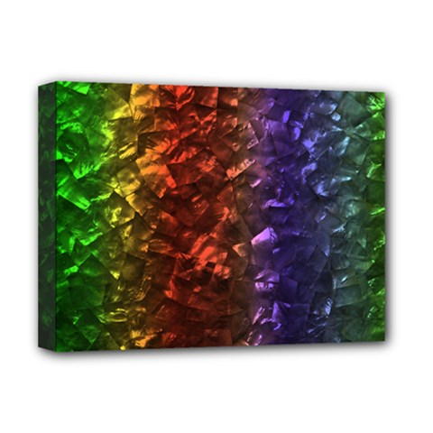 Multi Color Magical Unicorn Rainbow Shimmering Mother of Pearl Deluxe Canvas 16  x 12