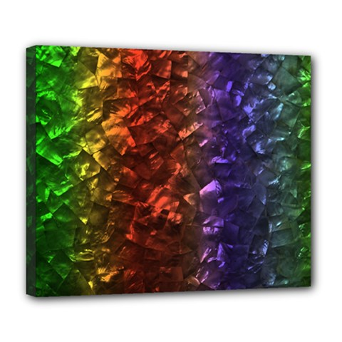 Multi Color Magical Unicorn Rainbow Shimmering Mother of Pearl Deluxe Canvas 24  x 20