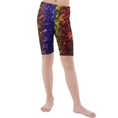 Multi Color Magical Unicorn Rainbow Shimmering Mother of Pearl Kids  Mid Length Swim Shorts