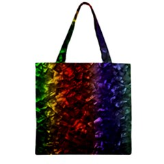 Multi Color Magical Unicorn Rainbow Shimmering Mother of Pearl Zipper Grocery Tote Bag
