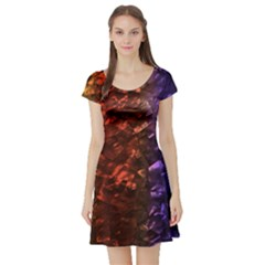 Multi Color Magical Unicorn Rainbow Shimmering Mother of Pearl Short Sleeve Skater Dress