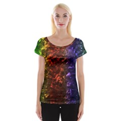 Multi Color Magical Unicorn Rainbow Shimmering Mother of Pearl Women s Cap Sleeve Top