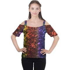 Multi Color Magical Unicorn Rainbow Shimmering Mother of Pearl Women s Cutout Shoulder Tee