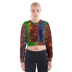 Multi Color Magical Unicorn Rainbow Shimmering Mother of Pearl Cropped Sweatshirt