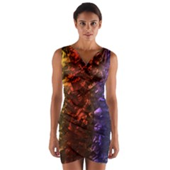 Multi Color Magical Unicorn Rainbow Shimmering Mother of Pearl Wrap Front Bodycon Dress