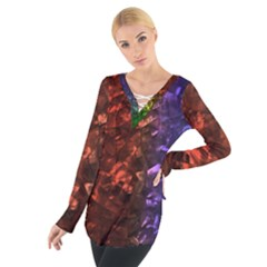 Multi Color Magical Unicorn Rainbow Shimmering Mother of Pearl Women s Tie Up Tee