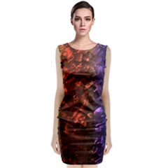Multi Color Magical Unicorn Rainbow Shimmering Mother of Pearl Classic Sleeveless Midi Dress