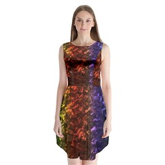 Multi Color Magical Unicorn Rainbow Shimmering Mother of Pearl Sleeveless Chiffon Dress