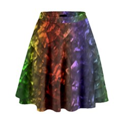 Multi Color Magical Unicorn Rainbow Shimmering Mother of Pearl High Waist Skirt