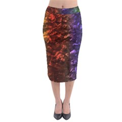 Multi Color Magical Unicorn Rainbow Shimmering Mother of Pearl Midi Pencil Skirt