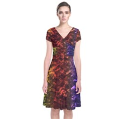 Multi Color Magical Unicorn Rainbow Shimmering Mother of Pearl Short Sleeve Front Wrap Dress