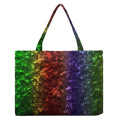 Multi Color Magical Unicorn Rainbow Shimmering Mother of Pearl Medium Zipper Tote Bag