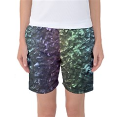 Natural Shimmering Mother of Pearl Nacre  Women s Basketball Shorts