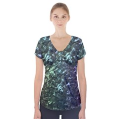 Natural Shimmering Mother of Pearl Nacre  Short Sleeve Front Detail Top