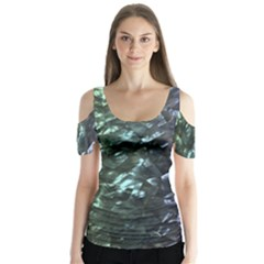 Natural Shimmering Mother of Pearl Nacre  Butterfly Sleeve Cutout Tee