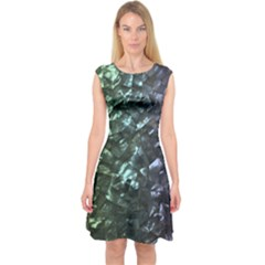 Natural Shimmering Mother of Pearl Nacre  Capsleeve Midi Dress