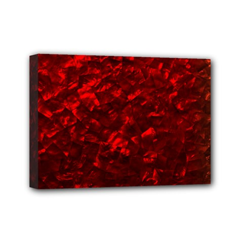 Hawaiian Red Hot Lava Mother of Pearl Nacre  Mini Canvas 7  x 5