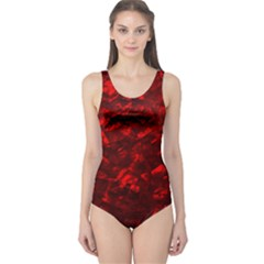 Hawaiian Red Hot Lava Mother of Pearl Nacre  One Piece Swimsuit