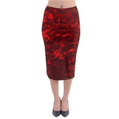 Hawaiian Red Hot Lava Mother of Pearl Nacre  Midi Pencil Skirt