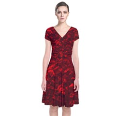 Hawaiian Red Hot Lava Mother of Pearl Nacre  Short Sleeve Front Wrap Dress
