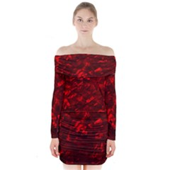 Hawaiian Red Hot Lava Mother of Pearl Nacre  Long Sleeve Off Shoulder Dress