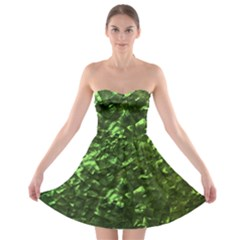 Bright Jade Green Jewelry Mother of Pearl Strapless Bra Top Dress