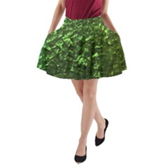 Bright Jade Green Jewelry Mother of Pearl A-Line Pocket Skirt
